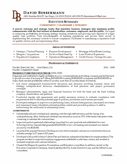 Community Bank CEO Sample Resume