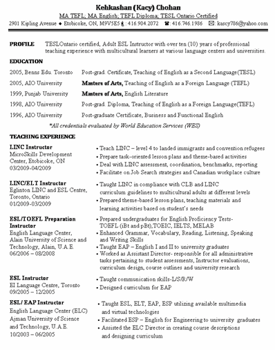 ESL INSTRUCTOR RESUME SAMPLE  Esl Resume