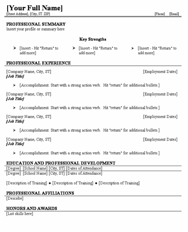 free fill in the blank resumes