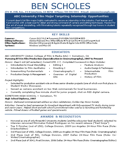 resume for film internship Pertamini