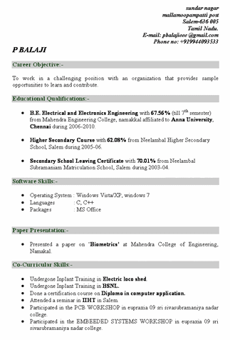 Download Resume Samples For Freshers  fresh jobs and free resume     computer technician resumes