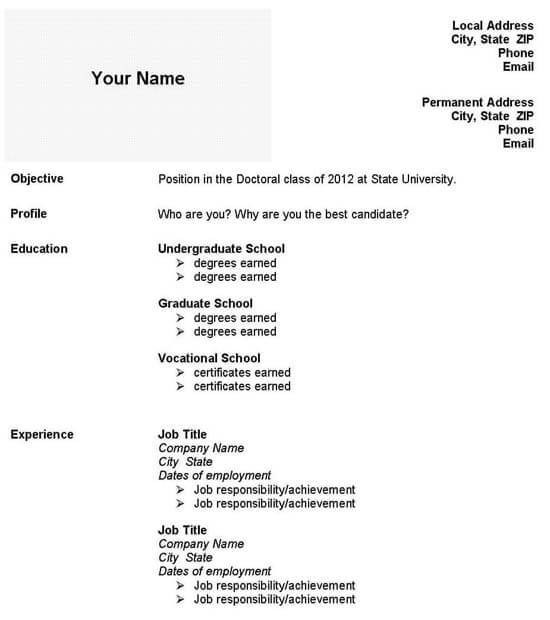 grad school resume template graduate admissions application curriculum vitae sample example