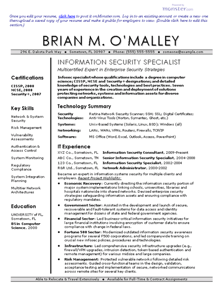 information security resume