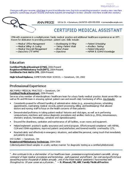 Certified Nursing Assistant Experienced Resume Sample Medical