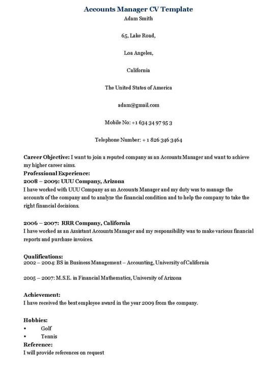 Accounts Manager Resume Template
