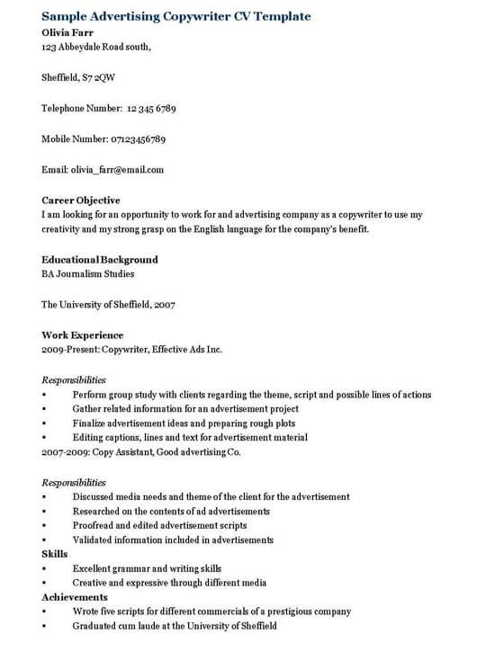 Advertising Copywriter Resume Template  Copywriter Resume
