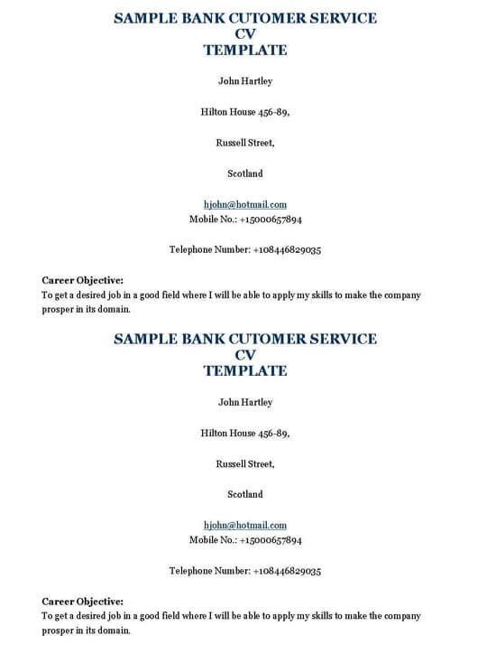 Bank Customer Service Resume Template