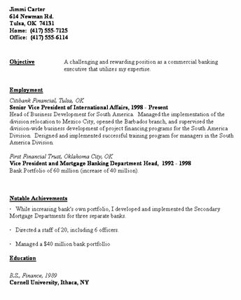 Banking Executive Resume Template