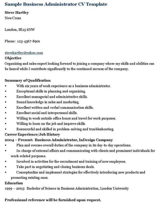 Business Administrator Resume Template