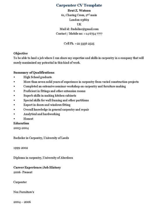carpenter resume sample - Carpenter Resume Sample