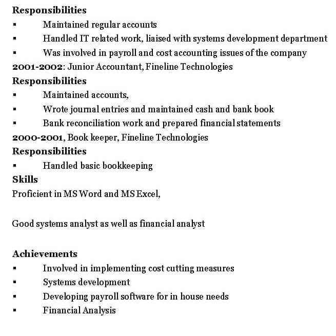 Chartered Accountant Resume Format