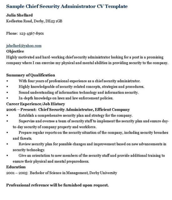 Security Administrator Resume Template