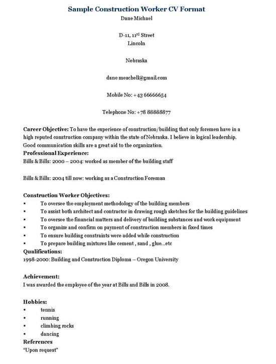 resume for construction workers construction construction worker
