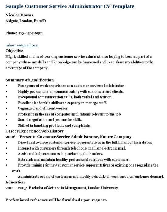 Customer Service Administrator Resume