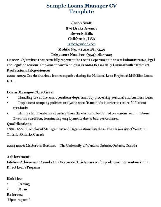 Loans Manager Resume Template