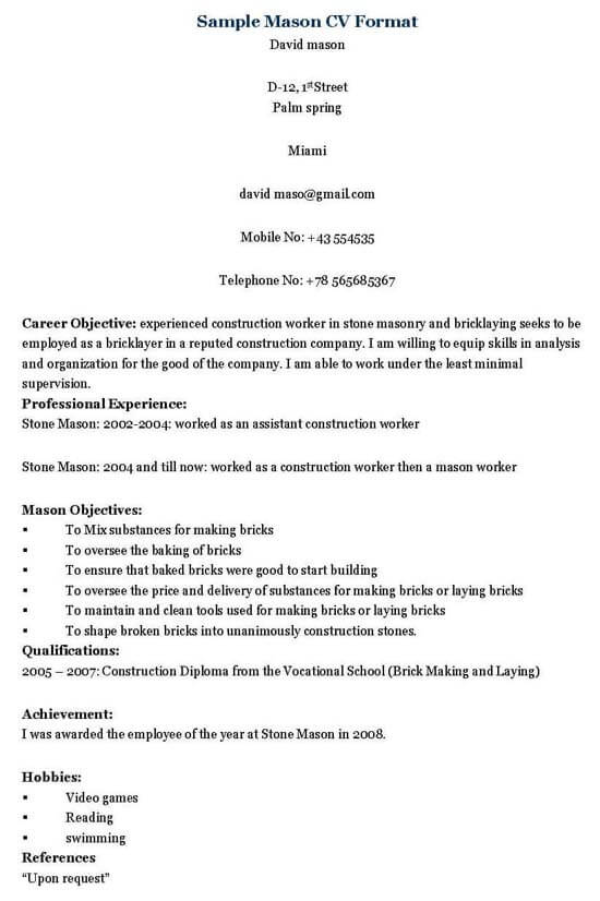 mason resume template construction business sample owner companies