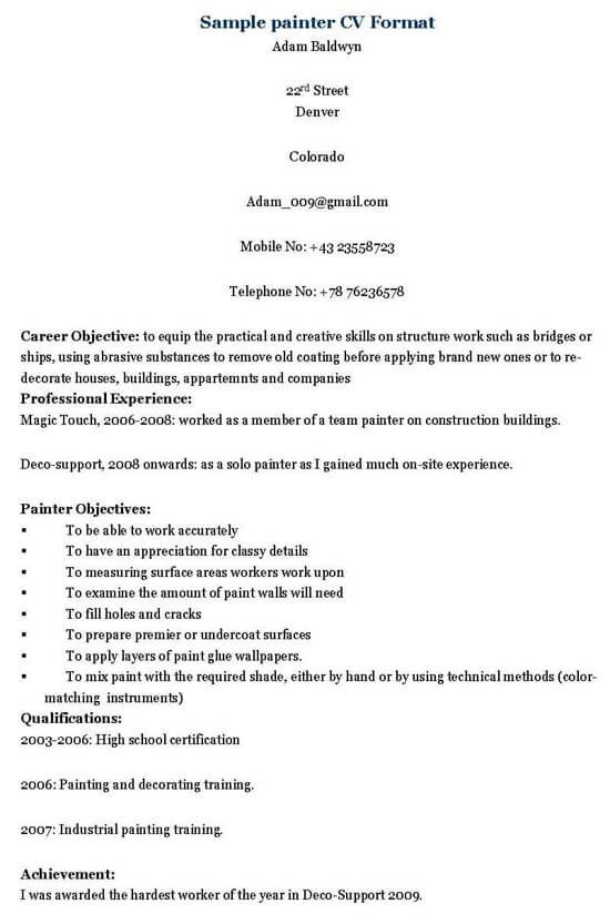 Painter Resume Template