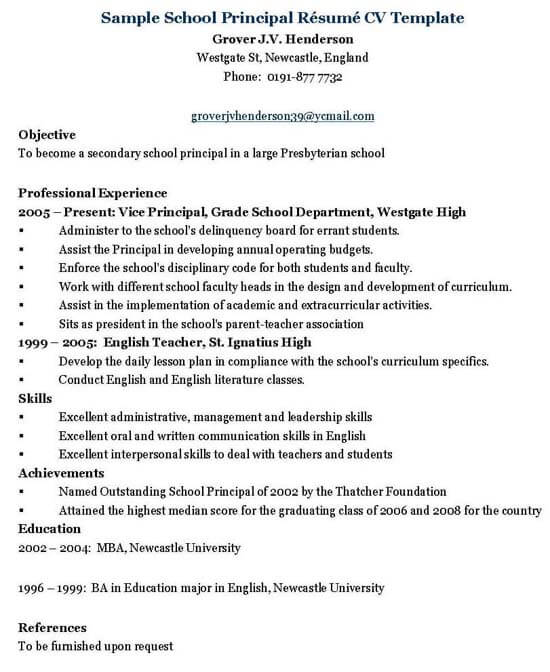 principal resume templates word vice format school administrator template sample