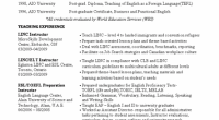 ESL Instructor Resume Template