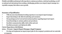 IMPORT/EXPORT MANAGER CV