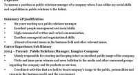 Public Relations Manager Resume